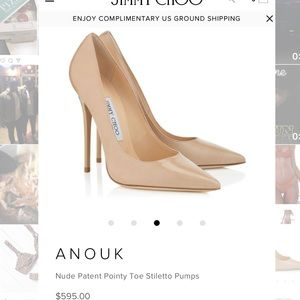 Jimmy Choo nude patent pointy toe stiletto pump